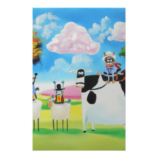 Lone ranger cats and sheep painting stationery