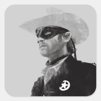 Lone Ranger John Reid - Black and White Square Sticker