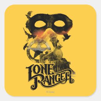 Lone Ranger Train and Mask Square Sticker