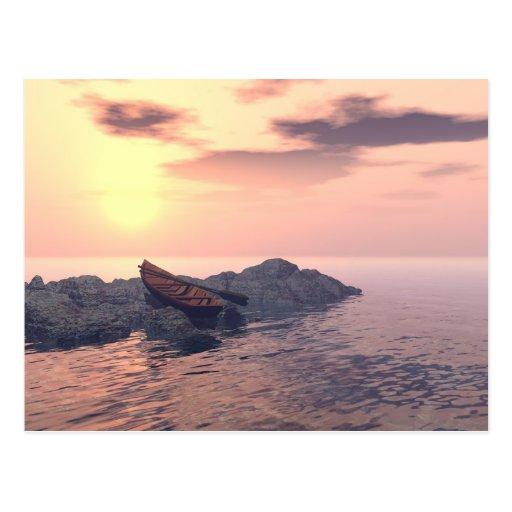 """Lone Rowboat"" Postcard"