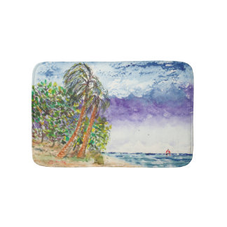 lone sail boat u0026amp palm trees north carolina beach bathroom mat