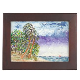 Lone Sail Boat & Palm Trees North Carolina Beach Keepsake Box