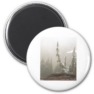 Lone Snow Covered Fir Tree Mt Rainier Paradise Art 2 Inch Round Magnet