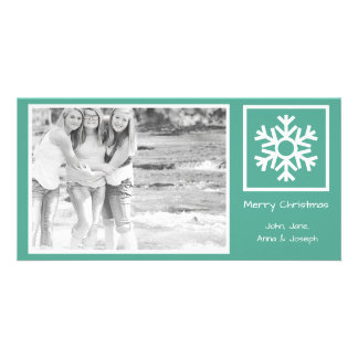 Lone Snowflake Christmas Photo Card (Teal)
