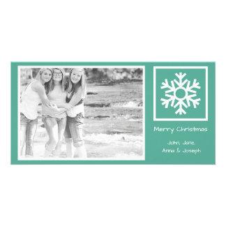 Lone Snowflake Christmas Photo Card (Teal)