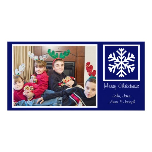 Lone Snowflake Christmas Photocards (Navy Blue) Personalized Photo Card