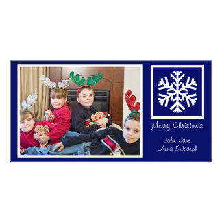 Lone Snowflake Christmas Photocards (Navy Blue) Card