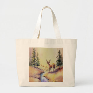 LONE STAG by SHARON SHARPE Large Tote Bag