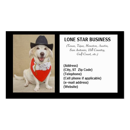 LONE STAR ANY BUSINESS BUSINESS CARD TEMPLATES