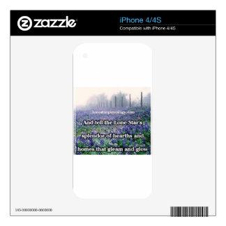 Lone Star Genealogy Poem Bluebonnet iPhone 4 Skins