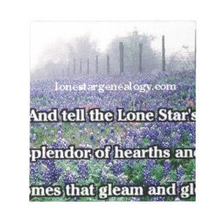 Lone Star Genealogy Poem Bluebonnet Notepad