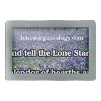 Lone Star Genealogy Poem Bluebonnet Rectangular Belt Buckle