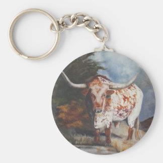 Lone Star Longhorn Basic Round Button Keychain