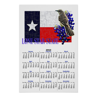 LONE STAR STATE 2012 Calendar Poster
