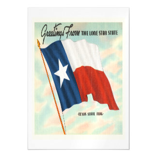 Lone Star State Texas TX Vintage Travel Souvenir Magnetic Card