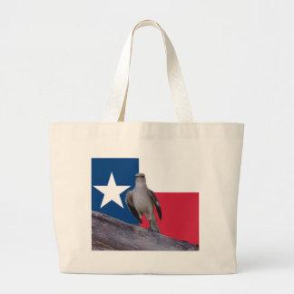Lone Star Tote Bag with Mockingbird & Texas Flag