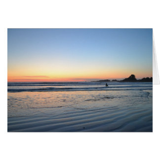 Lone Sunset Surfer Greeting Card