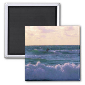 Lone Surfer at Fistral Beach Newquay Cornwall UK 2 Inch Square Magnet