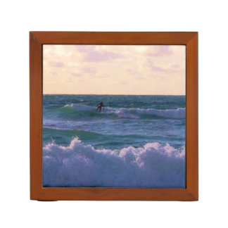 Lone Surfer at Fistral Beach Newquay Cornwall UK Desk Organizer