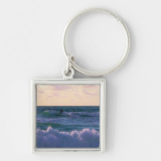 Lone Surfer at Fistral Beach Newquay Cornwall UK Silver-Colored Square Keychain