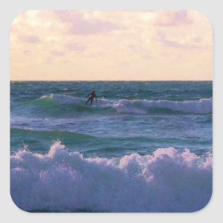 Lone Surfer at Fistral Beach Newquay Cornwall UK Square Sticker