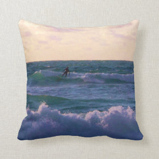 Lone Surfer at Fistral Beach Newquay Cornwall UK Throw Pillow