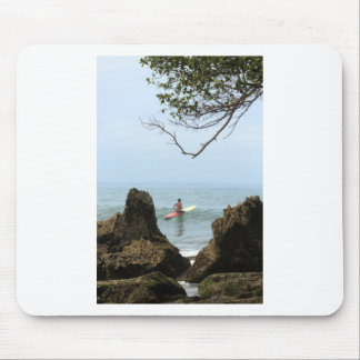 Lone surfer tranquility surfing mouse pad