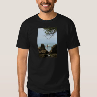 Lone surfer tranquility surfing tee shirt
