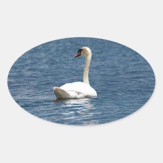 Lone Swan Oval Sticker