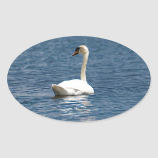 Lone Swan Oval Stickers