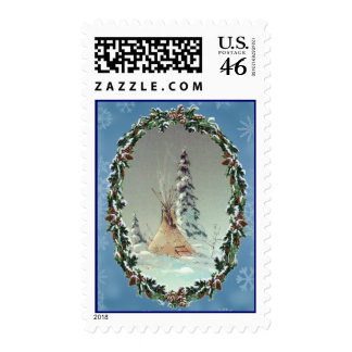 LONE TIPI WREATH by SHARON SHARPE Postage Stamp
