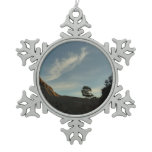 Lone Torrey Pine California Sunset Landscape Snowflake Pewter Christmas Ornament