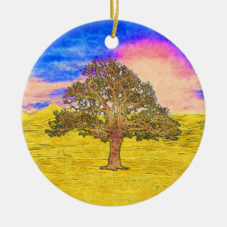 LONE TREE Double-Sided CERAMIC ROUND CHRISTMAS ORNAMENT