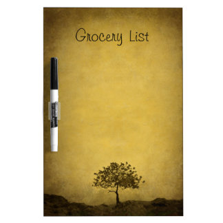 Lone Tree on Brown Grocery List Dry-Erase Board