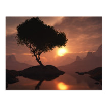 trees, mountains, hills, red, clouds, Postcard with custom graphic design