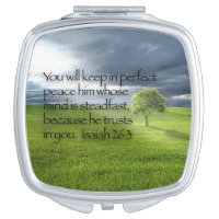 Lone Tree, Rays of Sunshine, Christian Bible Verse Makeup Mirror
