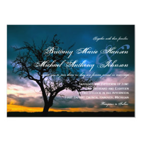 Lone Tree Sunset Country Wedding Invitations 4.5