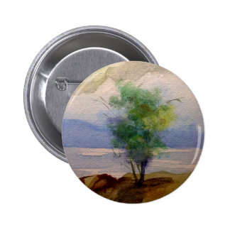 LONE TREE WATERCOLOR PINBACK BUTTONS