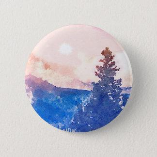 Lone Tree Watercolor Button