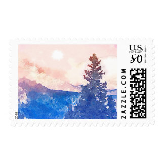 Lone Tree Watercolor Postage