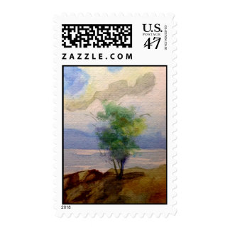 LONE TREE WATERCOLOR POSTAGE STAMP
