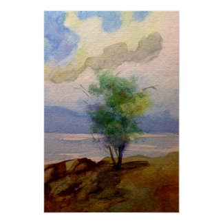 LONE TREE WATERCOLOR POSTER