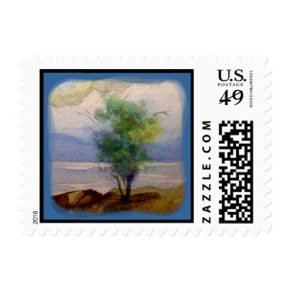 LONE TREE WATERCOLOR STAMP