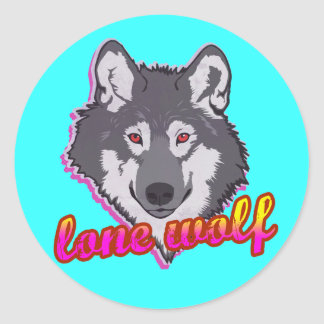 Lone Wolf, 80's style! Classic Round Sticker