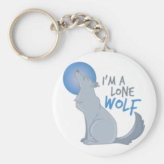 Lone Wolf Basic Round Button Keychain