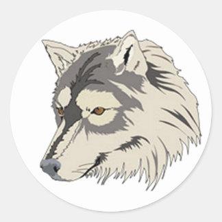 Lone Wolf Head Classic Round Sticker