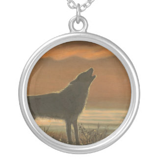 Lone wolf howling silver plated necklace