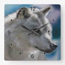 Lone  Wolf In the Wild Square Wall Clock