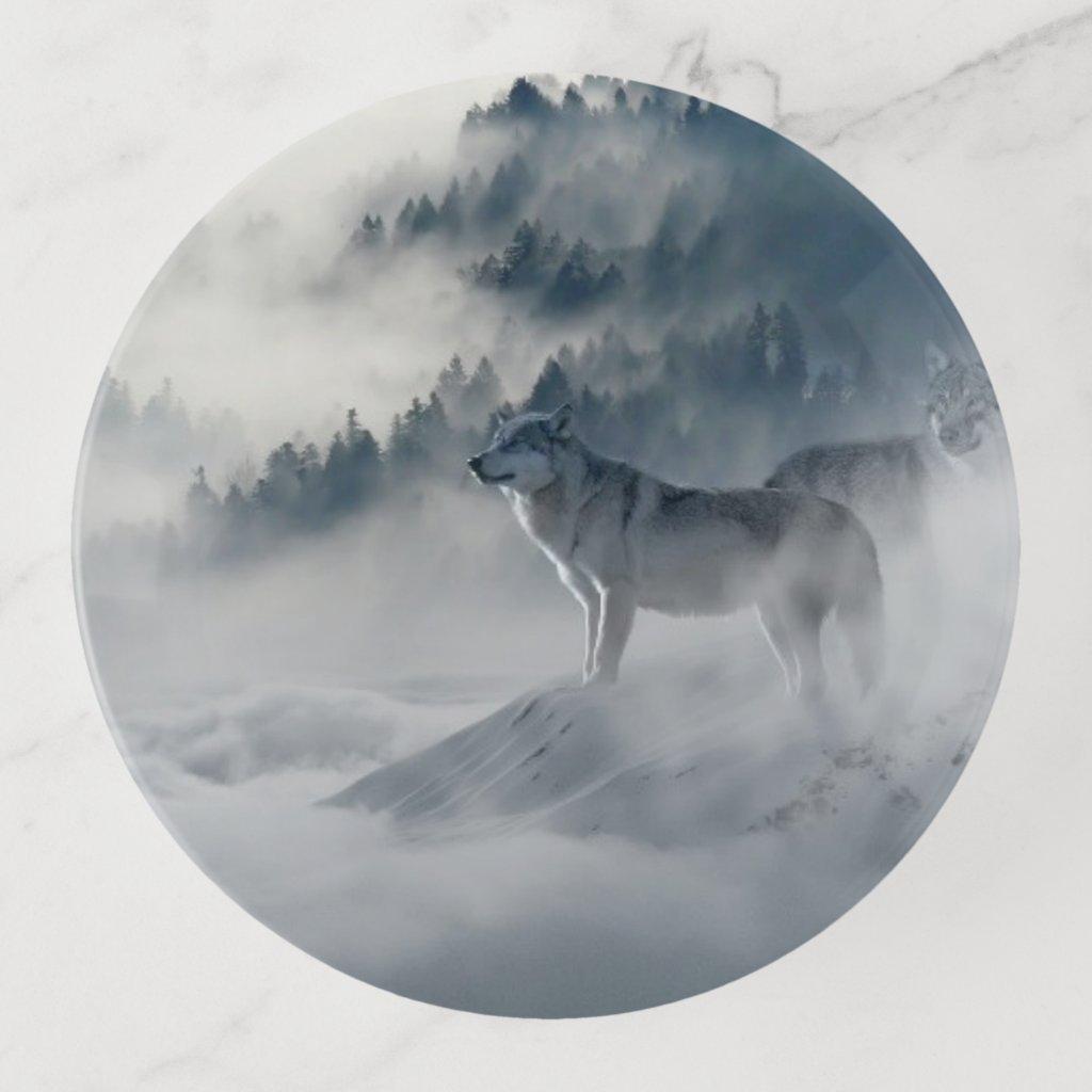 Lone Wolf In the Wild Trinket Trays
