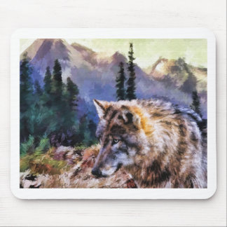 Lone Wolf Painting Mouse Pad